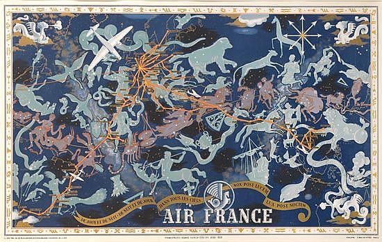 LUCIEN BOUCHER (1889-1971). AIR FRANCE / DE JOUR ET DE NUIT. 1938. 24x38 inches, 62x97 cm. Perceval, Paris.