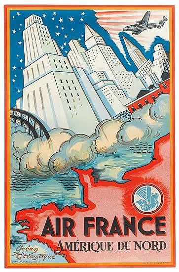GUY ARNOUX (1890-1951). AIR FRANCE / AMÉRIQUE DU NORD. 1946. 38x24 inches, 98x61 cm. Hubert Baille, Paris.