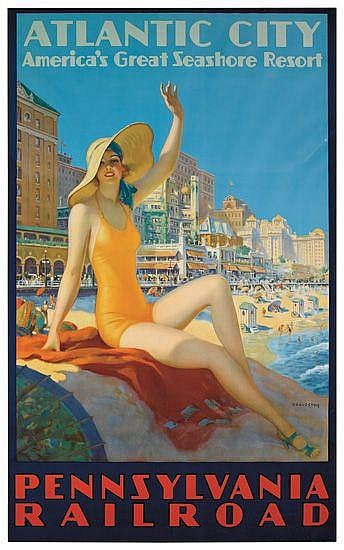 EDWARD M. EGGLESTON (1883-1941). ATLANTIC CITY / PENNSYLVANIA RAILROAD. Circa 1935. 39x24 inches, 100x60 cm. O. Co., Clifton, NJ.