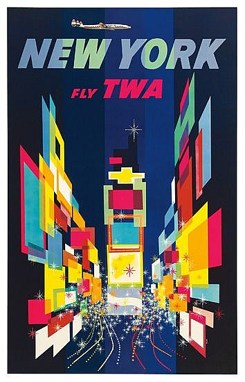 DAVID KLEIN (1918-2005). NEW YORK / FLY TWA. 1956. 40x24 inches, 102x63cm.