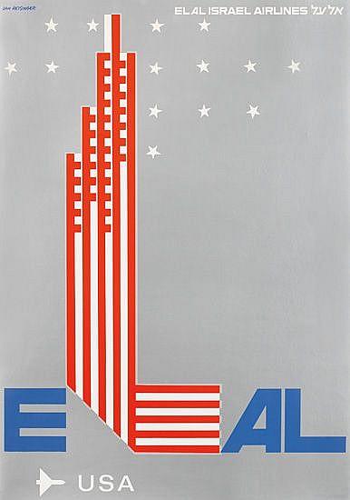 DAN REISINGER (1934- ). EL AL / USA. Circa 1970. 27x19 inches, 70x49 cm.