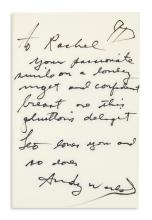 WARHOL, ANDY. Warhol and Hackett. Popism. Signed and Inscribed, on the front free endpaper, to Rachel [Levine]. Additionally Signed,
