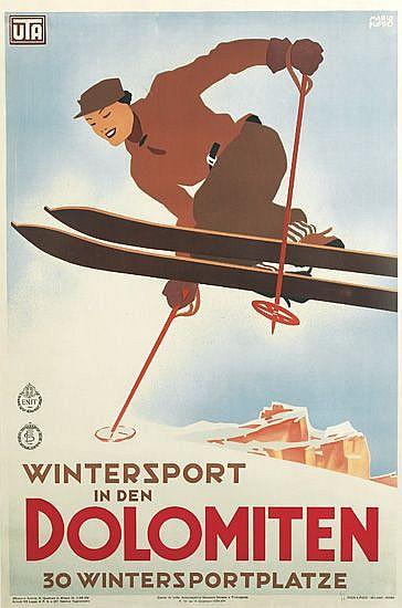 MARIO PUPPO (1905-1977). WINTERSPORT IN DEN DOLOMITEN. 1935. 39x26 inches, 99x66 cm. Pizzi & Pizio, Milan.
