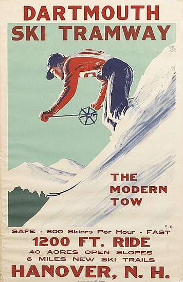 DWIGHT CLARK SHEPLER (1905-1974). DARTMOUTH SKI TRAMWAY / THE MODERN TOW. 1936. 37x24 inches, 96x61 cm. Buck Printing Co., Boston.