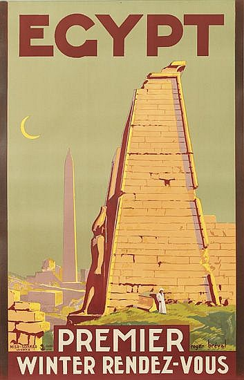 ROGER BREVAL (DATES UNKNOWN). EGYPT / PREMIER WINTER RENDEZ-VOUS. Circa 1930. 39x25 inches, 101x64 cm. Misr-Sokkar Works, Cairo.