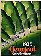 POSTER: PAUL COLIN (1892-1986) PEUGEOT. 1935. 62x46 inches. Bedos, Paris., Paul (1892) Colin, Click for value