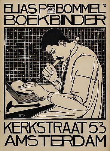 TH. H. MOLKENBOER (1871-1920) ELIAS P VAN BOMMEL BOEKBINDER. 1897. 33x24 inches.