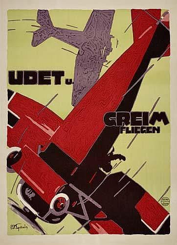POSTER: JULIUS USSY ENGELHARD (1883-1964) UDET U. GREIM FLIEGEN. 1919. 47x34 inches. Oscar Consee, Munich.