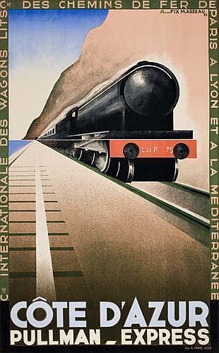 POSTER: PIERRE FIX-MASSEAU (1905-1994) CÔTE D'AZUR. 1929. 39x24 inches. L. Danel, Lille.