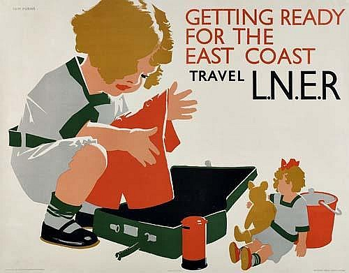 POSTER: TOM PURVIS ( 1888-1959) GETTING READY FOR THE EAST COAST / TRAVEL L.N.E.R. 39x49 inches. Waterlow  &  Sons, London.