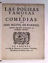 BARRIOS, MIGUEL [i. e., DANIEL LEVI] DE. Las Poesías Famosas y Comedias.  1708