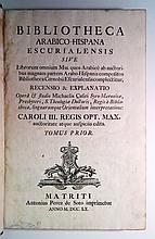 CASIRI, MIGUEL. Bibliotheca Arabico-Hispana Escurialensis.  Vol. 1 (of 2). 1760