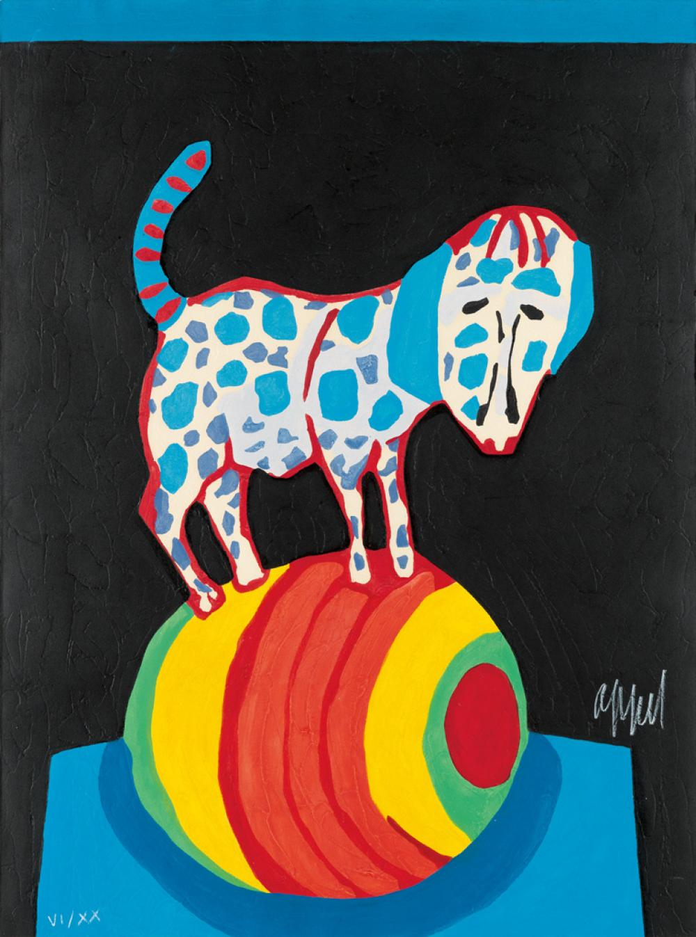 KAREL APPEL Circus: Dog on Ball.