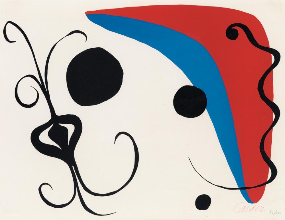ALEXANDER CALDER Boomerang rouge et bleu avec oignon.