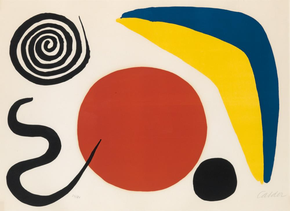 ALEXANDER CALDER Composition (Blue and Yellow Boomerang with Four Forms).