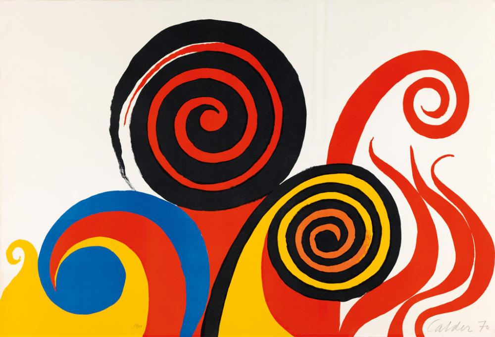 ALEXANDER CALDER Composition with Spirals and Flames.