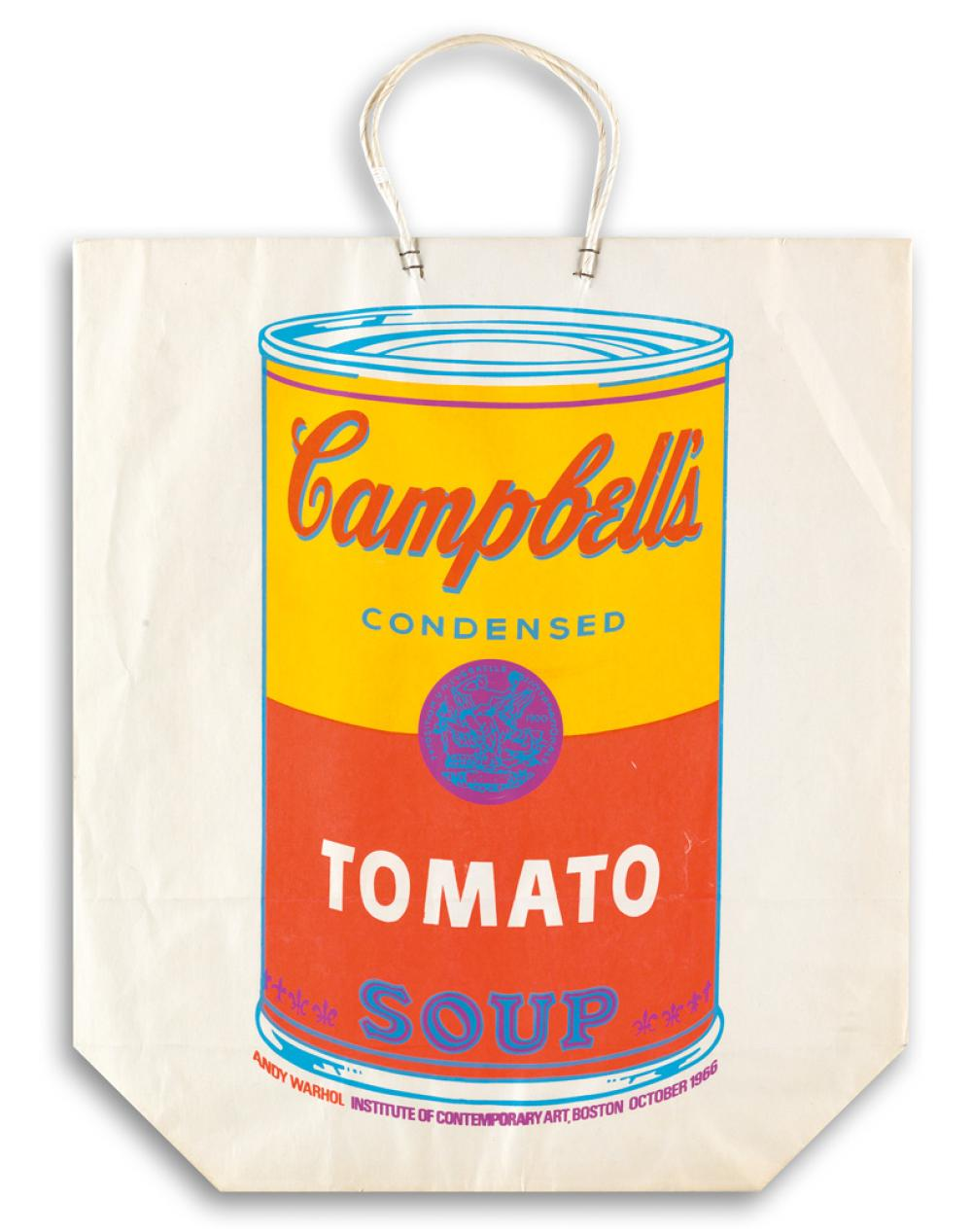 ANDY WARHOL Campbell''s Soup Can on a Shopping Bag.