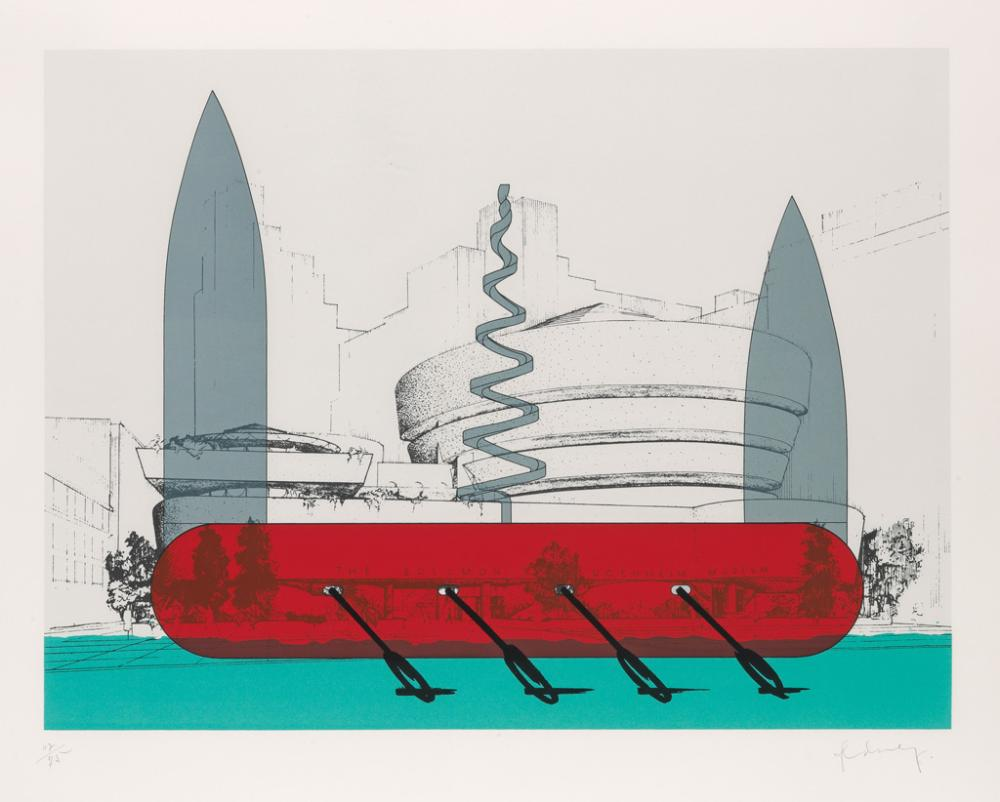 CLAES OLDENBURG Knife Ship Superimposed on the Solomon R. Guggenheim Museum.