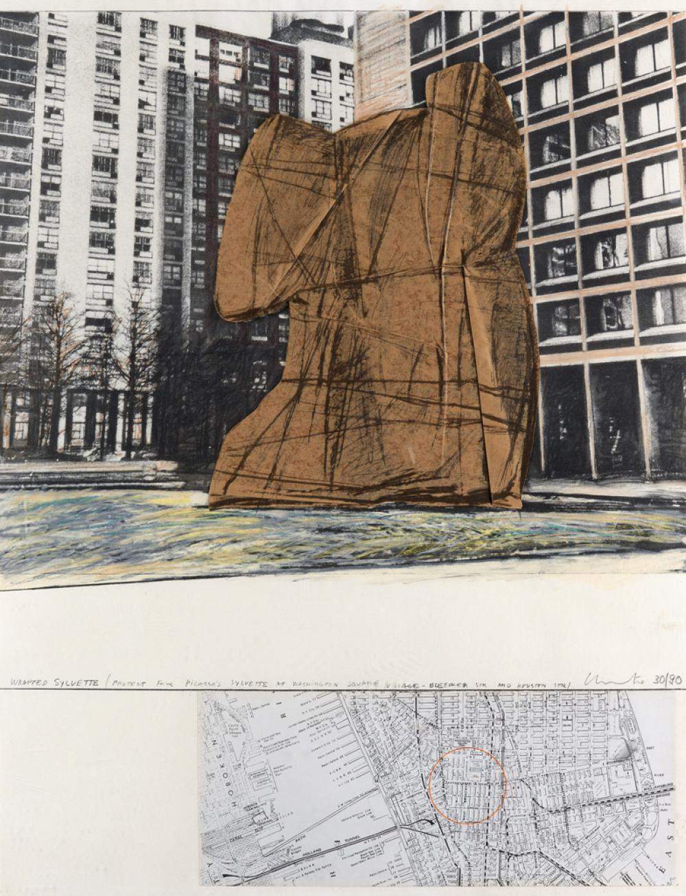 CHRISTO Wrapped Sylvette, Project for Washington Square Village, New York.
