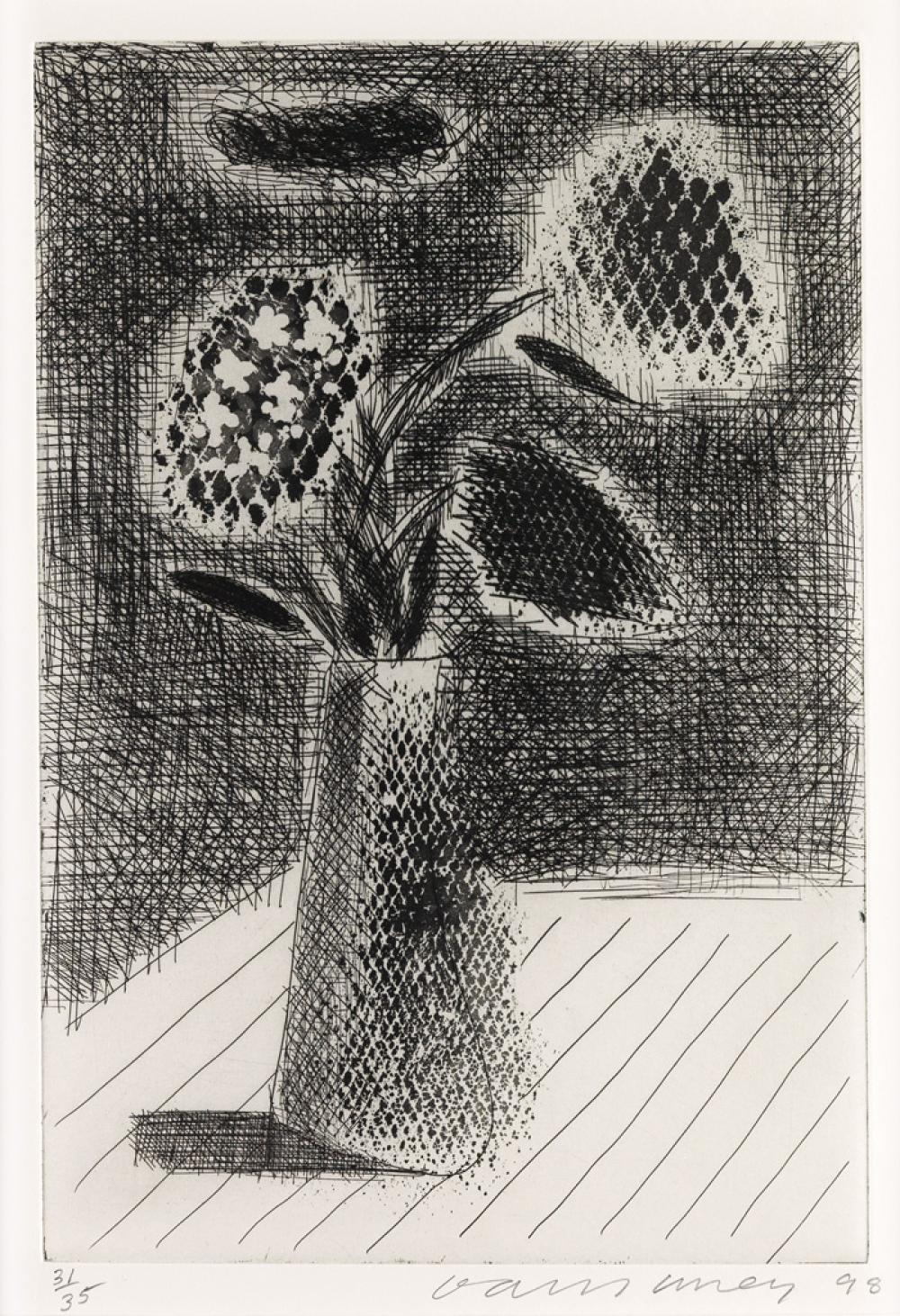 DAVID HOCKNEY Four Flowers in a Vase.