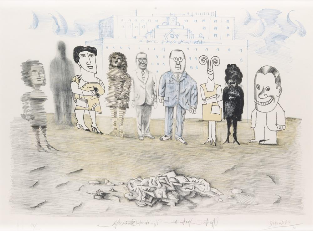 SAUL STEINBERG Mixed Media.