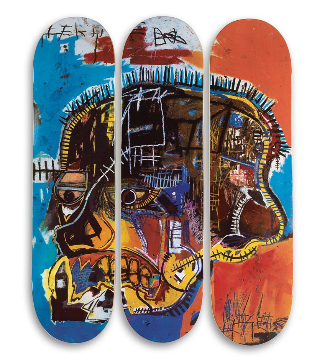 JEAN-MICHEL BASQUIAT (after) Skateboard Triptych: Skull