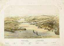 (CRIMEAN WAR.) Group of 3 tinted and hand-colored lithographed views of the battlefields of the war,