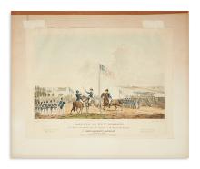 (WAR OF 1812.) [Steele], James W., engraver; after Samuel Seymour. Battle of New Orleans, and defeat of the British . . .