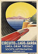 ARDUINO COLATO (1880-1954). CIRCUITO DEL LAGO DI GARDA. 1937. 39x27 inches, 99x70 cm. Barabino & Graeve, Genova.