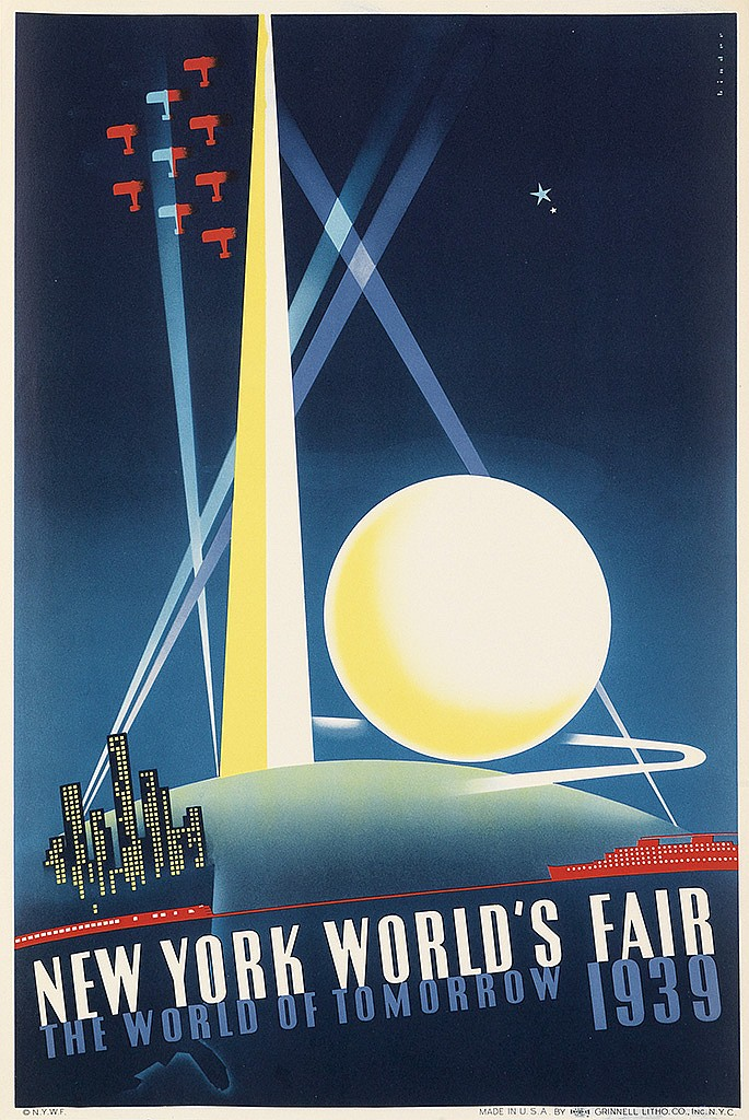 JOSEPH BINDER, JOHN ATHERTON & ALBERT STAEHLE. NEW YORK WORLD'S FAIR. Group of 3 posters. 1939. Each approximately 20x13 inches, 50x34