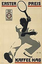 ALFRED RUNGE (DATES UNKNOWN) & EDUARD SCOTLAND (DATES UNKNOWN). ERSTER PREIS / KAFFEE HAG. 1915. 35x23 inches, 90x59 cm. Kempedruck, Br