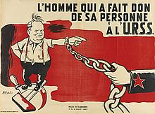 R. PINATEL (DATES UNKNOWN). L'HOMME QUI A FAIT DON DE SA PERSONNE A L'U.R.S.S. Circa 1952. 22x29 inches, 56x75 cm. Paix et Liberte, P