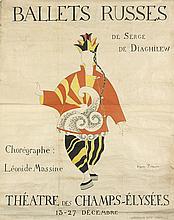 D'APRES PABLO PICASSO (1881-1973). BALLETS RUSSES / THEATRE DES CHAMPS - ELYSEES. Circa 1918. 58x46 inches, 148x118 cm. Versicolor Duf