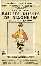D'APRES PABLO PICASSO (1881-1973). EXPOSITION BALLETS RUSSES DE DIAGHILEW. 1939. 39x24 inches, 99x61 cm. Watelet-Arbelot, Paris.