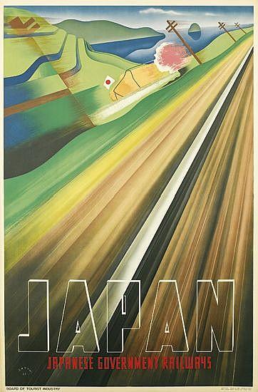 MUNETSUGU SATOMI (1900-1995). JAPAN. 1937. 35x29 inches, 89x74 cm. Seihan Printing Co., Osaka.