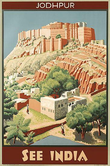 M. EYRE PROUDMAN (1906 - ?). SEE INDIA / JODHPUR. 1934. 39x25 inches, 99x63 cm. G. Claridge & Co., Bombay.