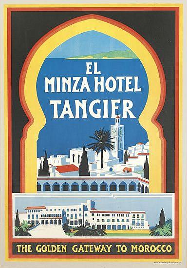 DESIGNER UNKNOWN. EL MINZA HOTEL / TANGIER. Circa 1935. 36x26 inches, 92x66 cm. Morrison & Gibb, Scotland.