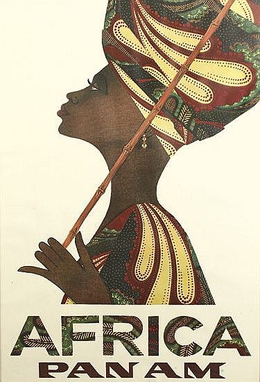 DESIGNER UNKNOWN. AFRICA / PAN AM. 1967. 41x27 inches, 104x69 cm.