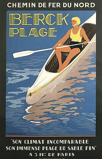 G. LANDRIEUX (DATES UNKNOWN). BERCK PLAGE. 1930. 39x24 inches, 99x61 cm, Lucien Serre, Paris.