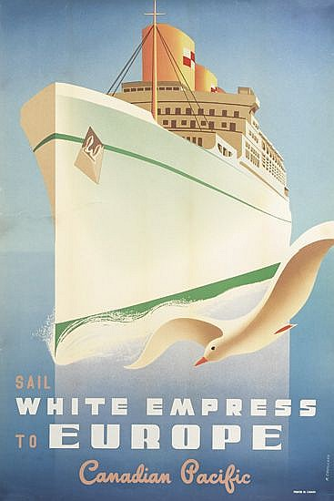 ROGER COUILLARD (1910-1999). SAIL WHITE EMPRESS TO EUROPE / CANADIAN PACIFIC. 1950. 36x24 inches, 91x61 cm.