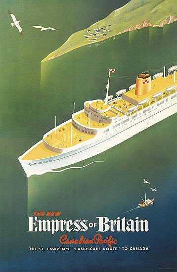 ROGER COUILLARD (1910-1999). THE NEW EMPRESS OF BRITAIN / CANADIAN PACIFIC. Circa 1956. 39x24 inches, 101x63 cm.