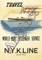 MUNETSUGU SATOMI (1900-1995). TRAVEL NYK / WORLD - WIDE PASSENGER SERVICE. 1936. 36x24 inches, 93x63 cm. Kyodo Printing Co., Ltd., Japa