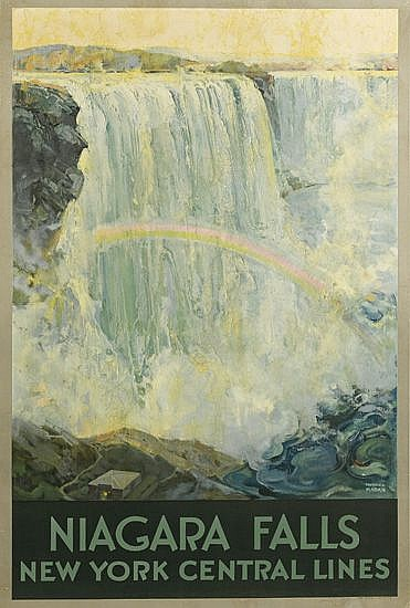 FREDERIC MADAN (1885-1972). NIAGARA FALLS / NEW YORK CENTRAL LINES. Circa 1928. 40x27 inches, 103x68 cm. Latham Litho & Ptg. Co., Long