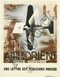 ADOLPHE MOURON CASSANDRE (1901-1968). AIR - ORIENT. 1932. 31x23 inches, 80x60 cm. Alliance Graphique Loupot-Cassandre, Paris.