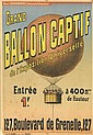 DESIGNER UNKNOWN. GRAND / BALLON CAPTIF. 1900. 23x16 inches, 58x40 cm. F. Appel, Paris.