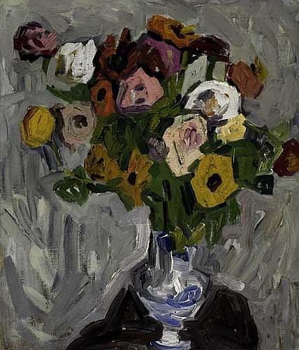 WILLIAM H. JOHNSON (1901 -1970) Flowers in a Blue and White Vase.