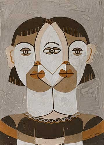 MARGARET BURROUGHS (1917 - ) Untitled (Abstract Head).