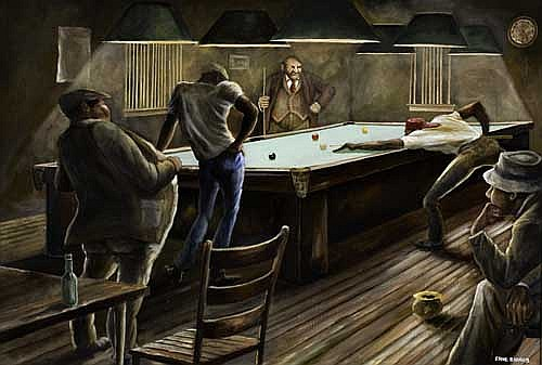 ERNIE BARNES (1938 -  ) Pool Hall.