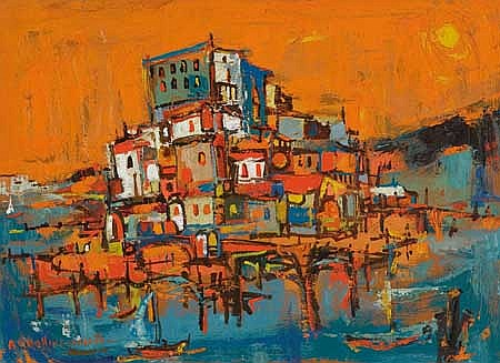 ALVIN CARL HOLLINGSWORTH (1928 - 2000) Untitled (City Landscape).