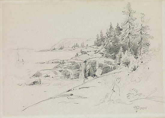 THOMAS MORAN Landscape--Lakeshore.